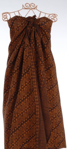 Brown on Black Diagonal Paths Batik Sarong