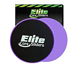 Elite Core Workout Exercise Sliders - Set of 2 Gliding Discs - Dual Sided for Carpet or Hard Floors - Purple