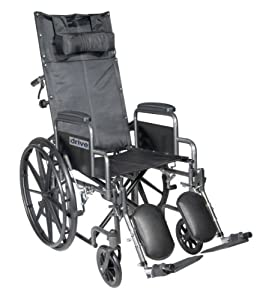 Drive Medical SSP20RBDDA Silver Sport Reclining Wheelchair with Detachable Desk Length Arms and Elevating Leg Rest, Silver Vein