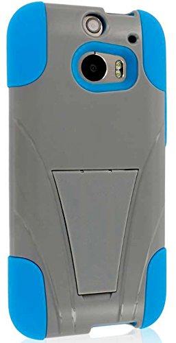 Mylife Battleship Gray + Sky Blue {Impact Design} Two Piece Neo Hybrid (Shockproof Kickstand) Case For The All-New Htc One M8 Android Smartphone - Aka, 2Nd Gen Htc One (External Hard Fit Armor With Built In Kick Stand + Internal Soft Silicone Rubberized F