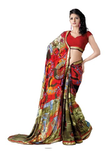 Fabdeal Indian Designer Georgette Multicoloured Printed With Lace Border Saree (multicolor)