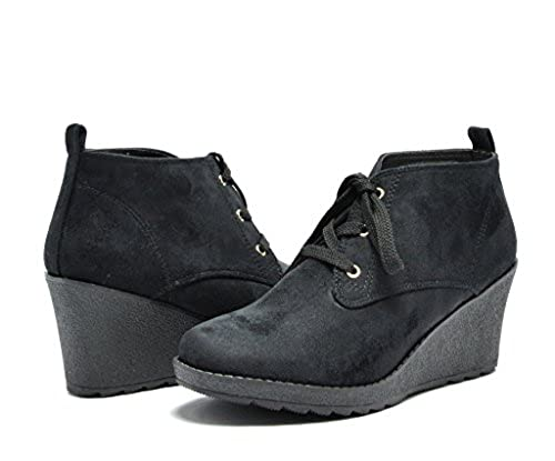 05. DREAM PAIRS Women's Fashion Casual Outdoor Low Wedge Heel Booties Shoes
