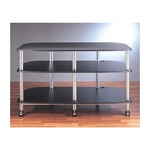 AR Series Mobile LCD TV Stand (Grey Silver w Cherry Shelf)