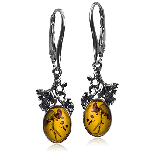 Honey Amber Sterling Silver Classic Grape Leverback Earrings (Ruby Roman Grapes compare prices)