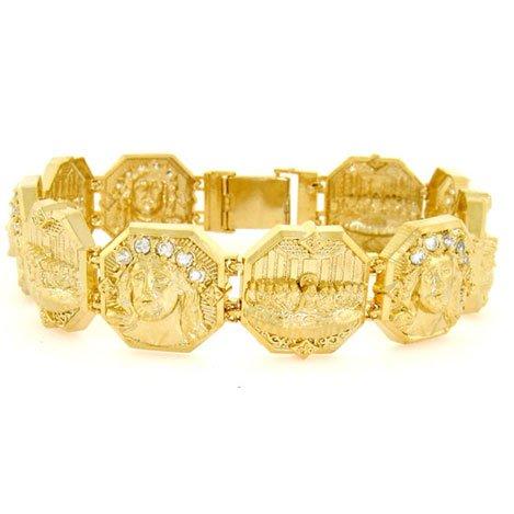 925 Silver Gold EP Last Supper Jesus CZ Mens Bracelet