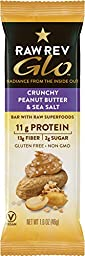 Raw Rev Glo 12 Pack Case - Crunchy Peanut Butter & Sea Salt Bars with Raw Superfoods. High Protein (Plant Based), High Fiber, Low Sugar (Sweetened with Imo), Organic Ingredients, Gluten Free, Non GMO