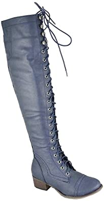 Breckelle Alabama-12 Navy Blue Women Over The Knee Boots, 11 M US