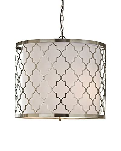 Home Philosophy Brushed Nickel Patterned 3-Light Fixture, Nickel