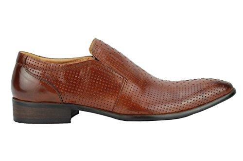 Da uomo in vera pelle marrone fori blu Smart Slip On Mocassini Vintage Mod Scarpe, Marrone