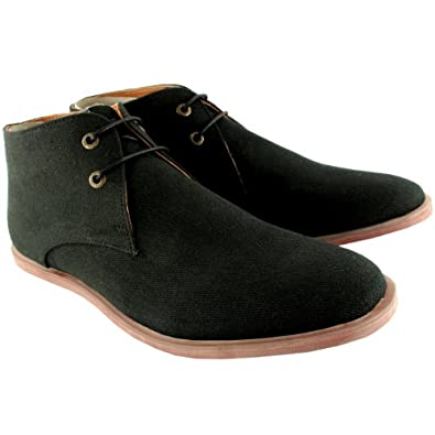 Mens Frank Wright De Vito Canvas ChUSka Boots Lace Up Ankle Boots New - 11 - Black