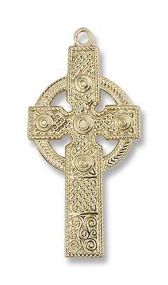 Gold Filled Kilklispeen Cross Medal Pendant Charm with 18