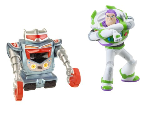 Toy Story 3 Laser Action Buzz Lightyear And Seek N Destroy Robot Figure 2-Pack