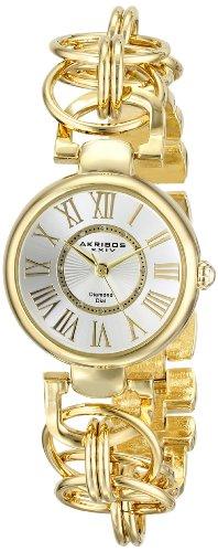 Akribos XXIV Women's Lady Diamond Gold-Tone Watch with Chain-Link Bracelet