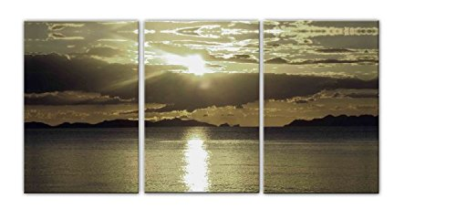 Sanbay Art Modern Giclee Canvas Prints Stretched Abstract Sunset Seascape Paintings Wood Framed Inside Wall Art for Home Office Decorations Wall Decor 3pcs/set