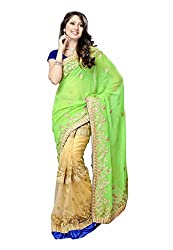 Offo Deals Womens Chifon Saree ( TM-21_Cream and Parrot_Freesize)