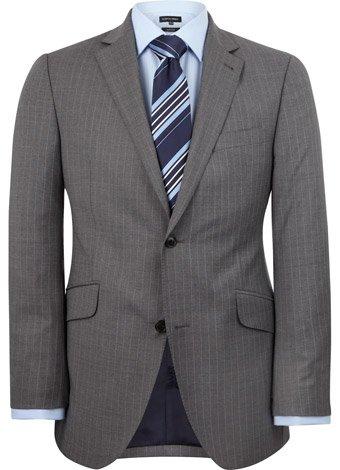 Austin Reed Contemporary Fit Grey Pinstripe Jacket LONG MENS 44