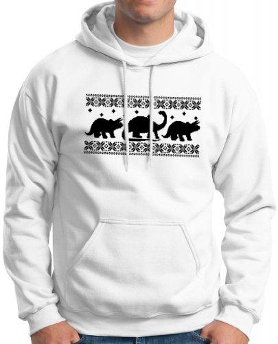 Dinosaur Pattern Faux Ugly Christmas Sweater Premium Hoodie Sweatshirt Large White