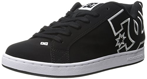 DC Women's Court Graffik Skate Shoe, Black/Black/White, 6 M US