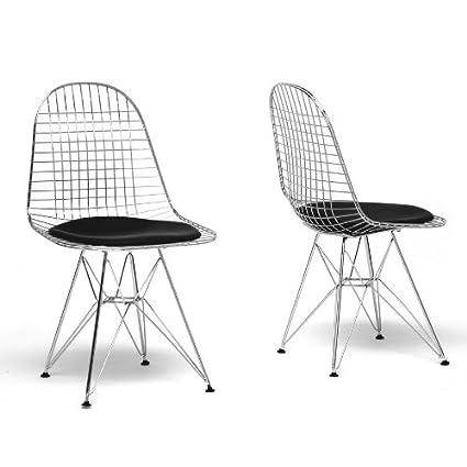 Avery Mid-Century Modern Wire Chair with Black Cushion with Chanasya Polish Cloth Bundle (Set of Two)