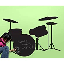 RoomMates CHK0009DR Drums Chalkboard Wall Decals