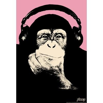 (13X19) Steez Headphone Chimp - Pink Art Poster Print