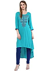 Akkriti by Pantaloons Women's Tunic ( 205000005637831, Turquoise, Large)