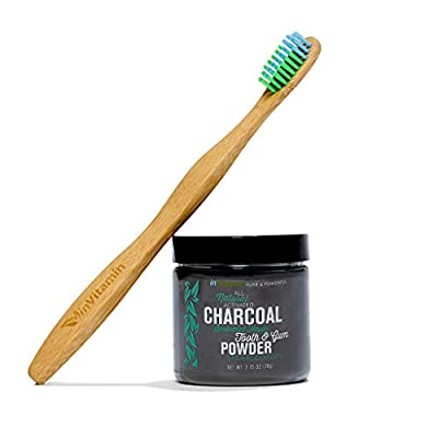 Natural Whitening Tooth & Gum Powder with Activated Charcoal, 2.75oz + 1 WooBamboo Toothbrush