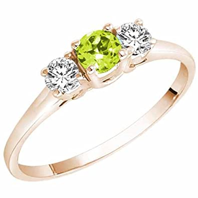 Ryan Jonathan Three Stone Peridot and Diamond Ring in 14K White Gold