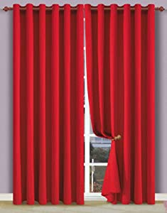 sheetsnthings Set of 2 Solid Decorative Crimson Red Heavy Window Top Curtain Panels made of 100%Egyptian Cotton.