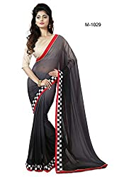 Sk Creation Amazing Grey Lace Embroidered Party Wear Saree