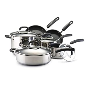 Circulon Steel 10 Piece Stainless Steel Nonstick Cookware Set Kitchen Dining