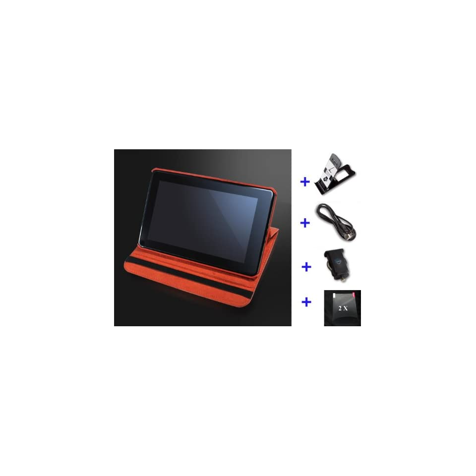 Wecase® Premium Leather Kindle Fire Case Bundle (Leather Case + Car Charger + Data Cable + Mini Stand + 2X Screen Protector) for  Kindle Fire Tablet   Orange
