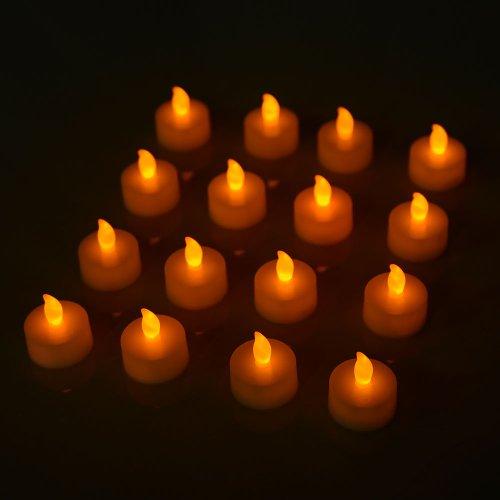 Andi Rose Led Tea Light Candle Flameless Flickering Wedding (Yellow, 16Pcs)