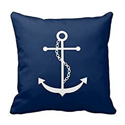 HLPPC Navy Blue Anchor Polyester Pillow Cover Throw Pillowcase 18 x 18 Inches Square Throw Pillow Cover