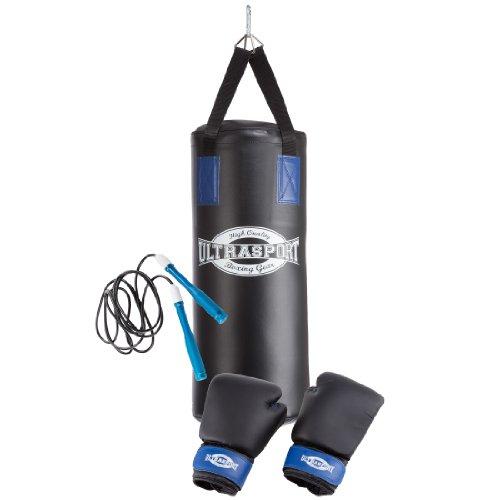 Ultrasport Serie Boxing Gear, Set da Boxe per Giovani - con Sacco da Boxe in Vinile Imbottito 60 X 25 Cm, Guanti da Boxe 8 Oz, Set da 2 Fasce, Corda, Supporto a Soffitto e Zaino per Il Trasporto