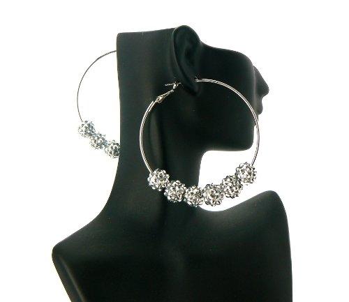 Silver Basketball Wives Poparazzi Earrings with Six 10mm Shamballa Balls Lady Gaga Paparazzi