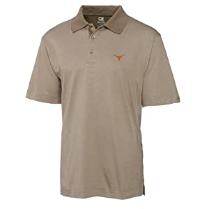 NCAA Mens Texas Longhorns Oyster Drytec Resolute Polo Tee by Cutter & Buck