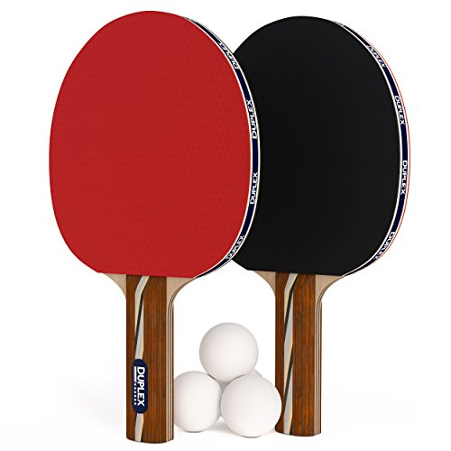 Duplex   6 Star Ping Pong Paddle Set - Best Professional Table Tennis Racket Kit with High Performance Rubber - Two Blades with Three Ping Pong Balls (Table Tennis Blade Carbon compare prices)