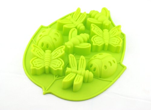 Tanboo 8 Cute Insect Shape Silicone Cake Mold Chocolate Mold Tray (Green),With Tanboo Card And Annagle Necklace
