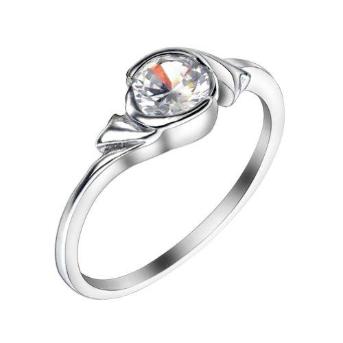 Jovivi Platinum-Plated Zircon Accented Couple'S Ring (Female 05) (6)