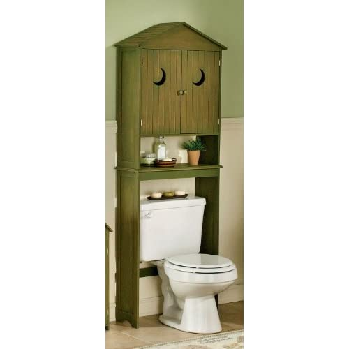 Outhouse over the toilet space saver his hers for Wood bathroom cabinets over toilet
