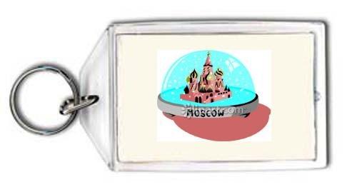 """Schlüsselhalter mit der Grafik: Moskau, Kreml, """"Schneekugel"""", """"Red Square"""", Russland"""