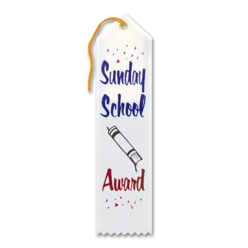 "Sunday School Award Ribbon 2"" x 8"" Party Accessory - 1"