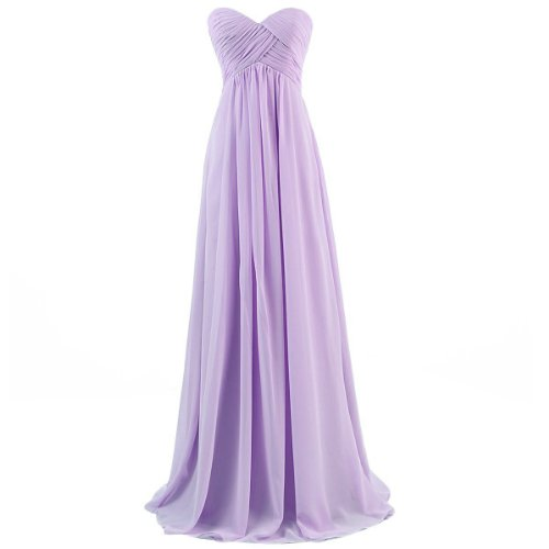 Ouman Sweetheart Bridesmaid Chiffon Prom Dress Long Evening Gown Lavender XS