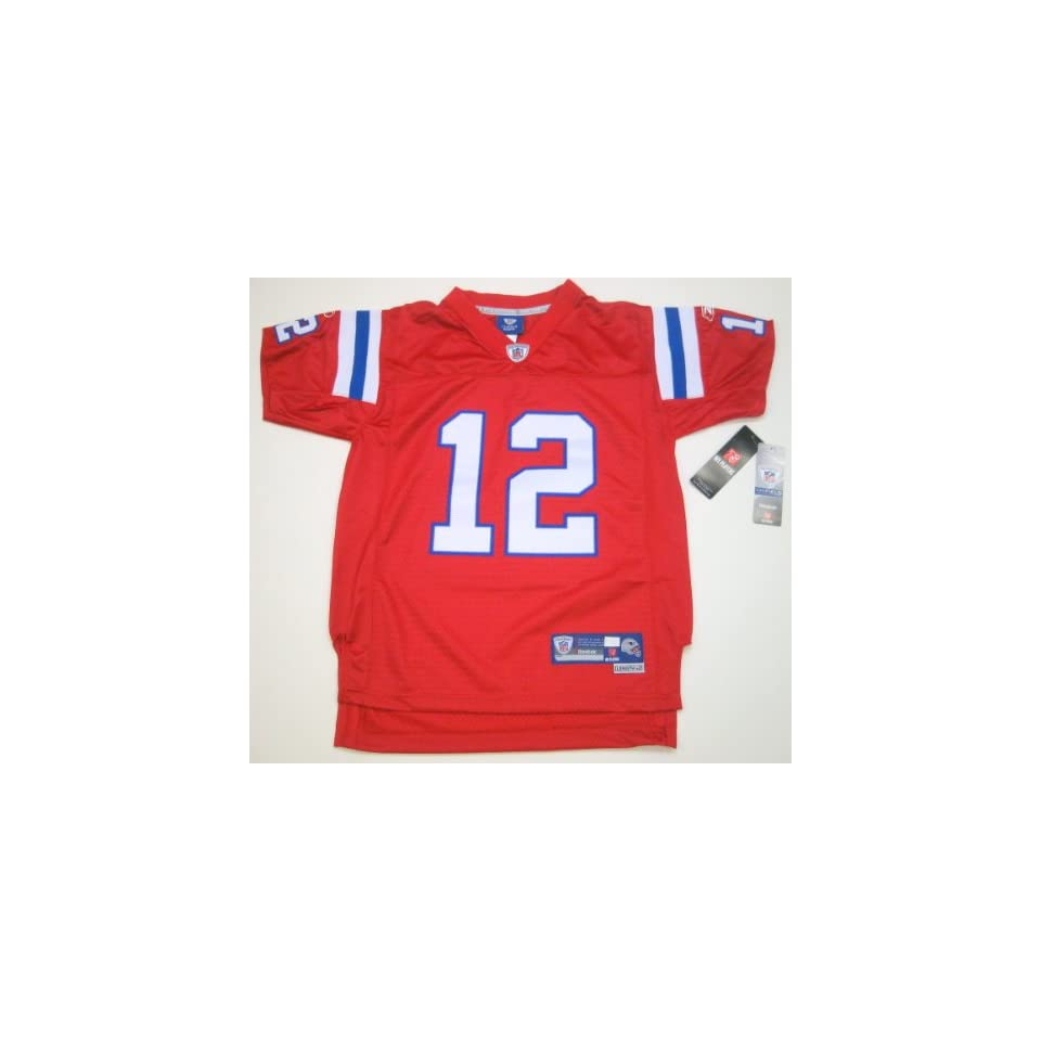 0a12a107 NFL Reebok New England Patriots Tom Brady Stitched/Premier Youth Jersey  Small (Size 8) Red