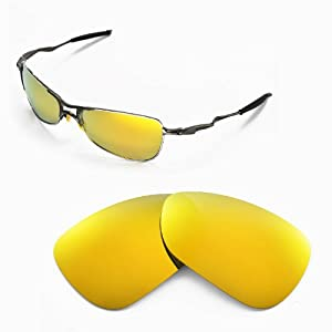 Walleva Replacement Lenses for Oakley Crosshair 1.0 (2005-2006 version) Sunglasses - Multiple Options Available (24K Gold Mirror Coated - Polarized)
