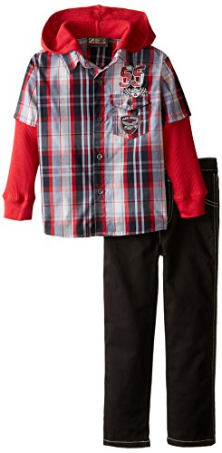 BoyzWear Little Boys' 2 Piece Woven Pant Set with Thermal Twofer Pockets, Red, 7