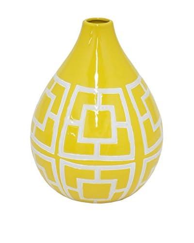 Three Hands Wide Teardrop Geometric Ceramic Vase, Yellow/White