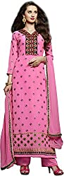 Shree Sai Exports Women's Georgette Unstitched Dress Material (Pink)