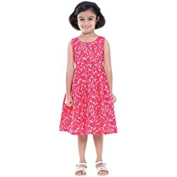 Indiwagon Red Color Girls Dress